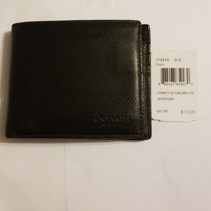Coach black compact crossgrain leather